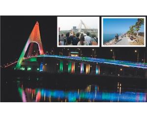 屏东鹏湾跨海大桥绚丽灯光吸引众多游客