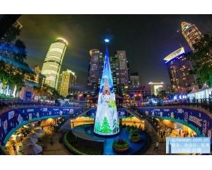 台湾过圣诞节新北最好玩\热闹,世界唯一360度3D立体光雕